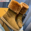 Louis Vuitton Monogram Suede Short Boots with Wool Foldover Brown