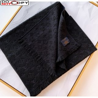Louis Vuitton Monogram Wool Scarf for Men Black
