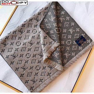 Louis Vuitton Monogram Wool Scarf for Men Light Grey