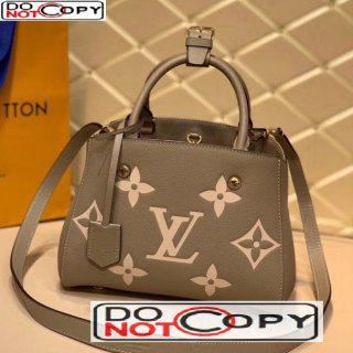 Louis Vuitton Montaigne BB Top Handle Bag in Monogram Leather M45489 Gray bag
