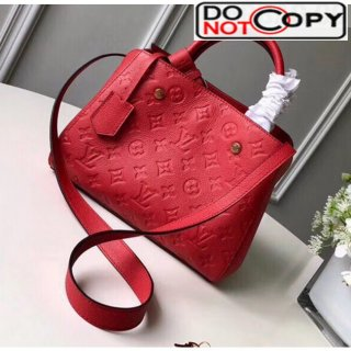 Louis Vuitton Montaigne PM Monogram Empreinte Leather Braided Top Handle Bag Red M41053 bag