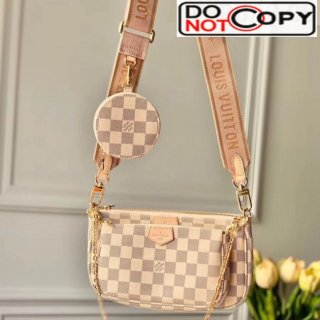 Louis Vuitton Multi Pochette Accessoires Damier Azur Canvas Triple Shoulder Bag M44813 Pink Bag
