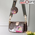 Louis Vuitton Multi-Pochette Accessoires Triple Monogram Canvas Print Shoulder Bag M44840 Pink bag