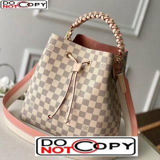 Louis Vuitton Neonoe Bucket Bag with Braided Top Handles m40344 Damier Azur Canvas bag