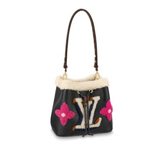 Louis Vuitton NeoNoe MM Bucket Bag in Leather and Monogram Shearling Wool M56963 Black Bag