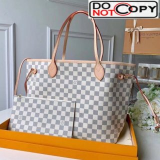 Louis Vuitton Neverfull MM Damier Azur Canvas Tote Bag N41361 Vintage White bag