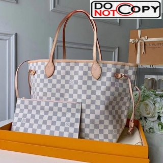 Louis Vuitton Neverfull MM Damier Azur Canvas Tote Bag N41605 Pink bag