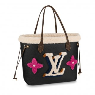 Louis Vuitton Neverfull MM Tote Bag in Monogram Shearling Wool M56960 Black bag