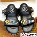 Louis Vuitton New Wave Bom Dia Flat Mule Sandals 1A5BVY Black