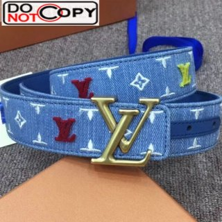 Louis Vuitton New Wave Embroidery Monogram Denim Belt 35mm with LV Buckle Blue
