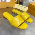 Louis Vuitton One-Stone Monogram Calfskin Flat Slide Sandals Yellow