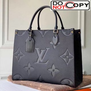 Louis Vuitton Onthego Giant Monogram Leather Medium Tote M44920 Black bag