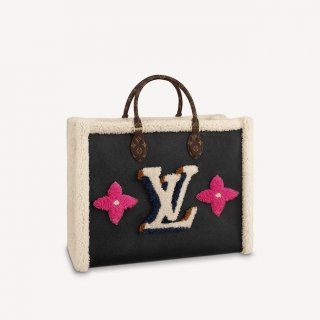 Louis Vuitton Onthego GM Tote Bag in Leather and Monogram Shearling Wool M56958 Black Bag