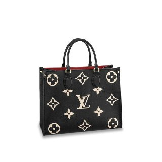 Louis Vuitton OnTheGo MM Tote Bag in Monogram Leather M45495 Black bag