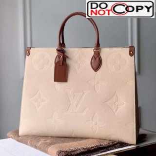 Louis Vuitton Onthego Monogram Embossed Leather Tote M44921 Light Nude bag