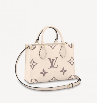 Louis Vuitton OnTheGo PM Tote Bag in Giant Monogram Leather M45654 Cream White bag