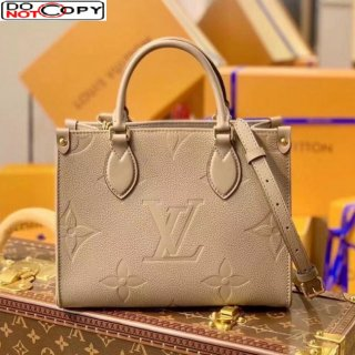 Louis Vuitton OnTheGo PM Tote Bag in Giant Monogram Leather M45659 All Beige bag