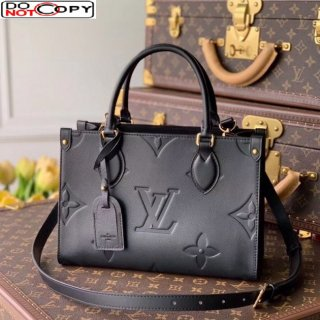 Louis Vuitton OnTheGo PM Tote Bag in Giant Monogram Leather M45661 Black bag