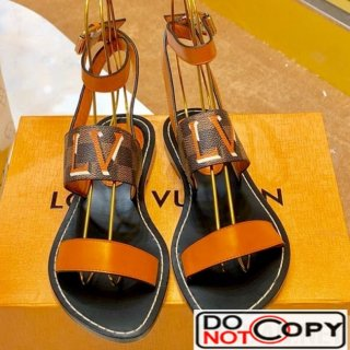 Louis Vuitton Passenger Oversized LV Flat Sandals in Damier Canvas and Orange Patent Leather