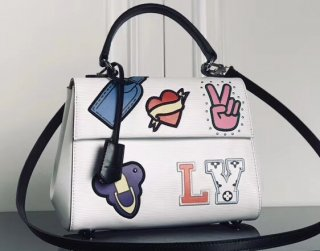 Louis Vuitton Patches Stickers Epi Cluny BB Bag M52484 White bag