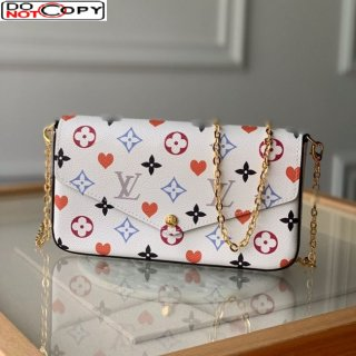 Louis Vuitton Pochette Felicie Chain Clutch Mini Bag in Rainbow Monogram Flower White Canvas M61276 bag