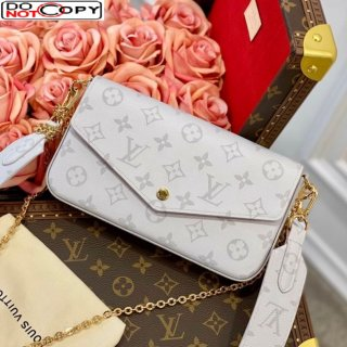 Louis Vuitton Pochette Felicie Chain Clutch Mini Bag in White Monogram Canvas M61276 bag
