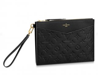 Louis Vuitton Pochette Melanie MM Pouch in Black Monogram Leather M68705 Bag