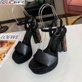 Louis Vuitton Podium Suede and Leather Platform Sandal Black