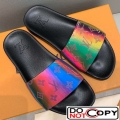 Louis Vuitton Rainbow Monogram Flat Slide Sandals Multicolor