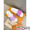 Louis Vuitton Rainbow Monogram Flat Slide Sandals Pink