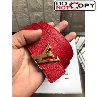 Louis Vuitton Reversible Grained Calfskin Belt 30mm with LV Buckle Red