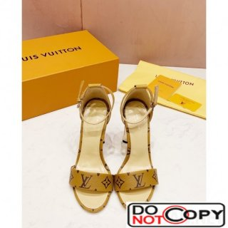 Louis Vuitton Silhouette Monogram Flower Shaped Heel Sandals Yellow