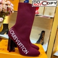 Louis Vuitton Silhouette Oversized Signature Stretch High Heel Ankle Short Boot Red