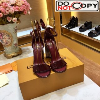 Louis Vuitton Silhouette Patent Leather Crystal Flower High Heel Sandals Burgundy