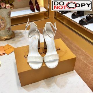 Louis Vuitton Silhouette Patent Leather Crystal Flower High Heel Sandals White