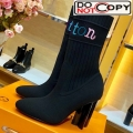 Louis Vuitton Silhouette Rainbow Signature Stretch High Heel Ankle Short Boot Black
