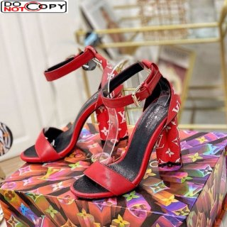 Louis Vuitton Silhouette Sandals 10cm in Monogram Canvas and Leather Red