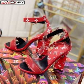 Louis Vuitton Silhouette Sandals 10cm in Studded Monogram Canvas Red