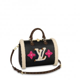 Louis Vuitton Speedy Bandouliere 30 in Leather and Monogram Shearling Wool M56966 Black Bag