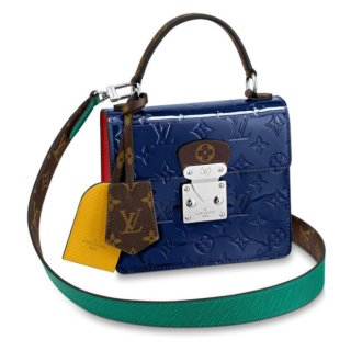 Louis Vuitton Spring Street in Blue Monogram Patent Leather M90514 Bag