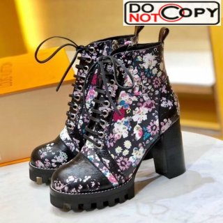 Louis Vuitton Star Trail Flower Print Lac-up Short Boots Pink