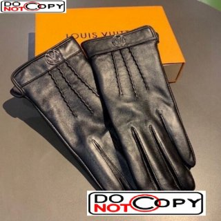 Louis Vuitton Striped Lambskin and Cashmere Gloves 22 Black