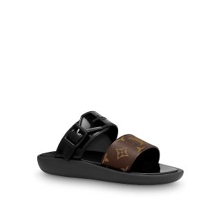 Louis Vuitton SUNBATH Flat Mules Sandals 1A66XD Black
