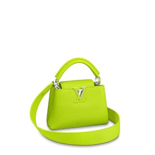 Louis Vuitton Taurillon Leather Capucines MIni Top Handle Bag M55985 Chartreuse Green Bag