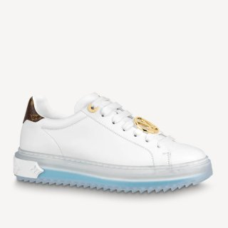 Louis Vuitton Time Out White Leather Sneakers 1A8NFV Blue