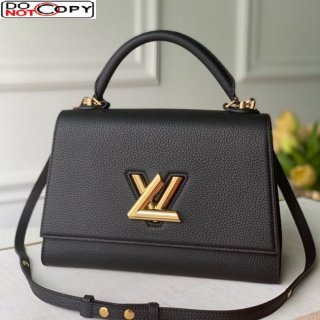 Louis Vuitton Twist One Handle Bag MM in Black Taurillon Leather M57090 bag