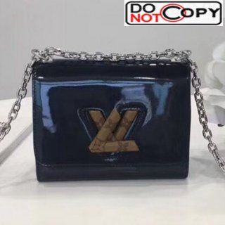 Louis Vuitton Twist PM Shoulder Bag in Patent Leather and Monogram Print Dark Blue bag