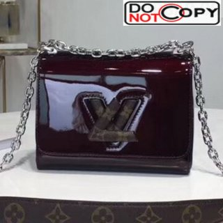 Louis Vuitton Twist PM Shoulder Bag in Patent Leather and Monogram Print Dark Burgundy