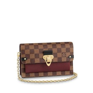Louis Vuitton Vavin Damier Ebene Canvas Chain Wallet WOC N60222 Burgundy bag