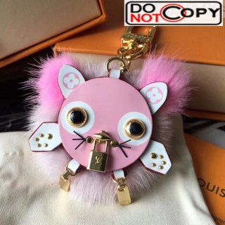 Louis Vuitton Wild Puppet Cat Bag Charm and Key Holder Pink